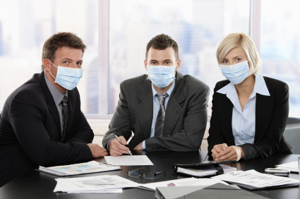 Business people fearing h1n1 swine flu virus wearing protective face mask during meeting at office. Click here for more Business images: [url=my_lightbox_contents.php?lightboxID=1500413][img]http://www.nitorphoto.com/istocklightbox/businesspeople.jpg[/img][/url] [url=my_lightbox_contents.php?lightboxID=3209528][img]http://www.nitorphoto.com/istocklightbox/beigebusiness.jpg[/img][/url] [url=my_lightbox_contents.php?lightboxID=1708462][img]http://www.nitorphoto.com/istocklightbox/womeninbusiness.jpg[/img][/url] [url=my_lightbox_contents.php?lightboxID=4993174][img]http://www.nitorphoto.com/istocklightbox/isolatedbusiness.jpg[/img][/url]